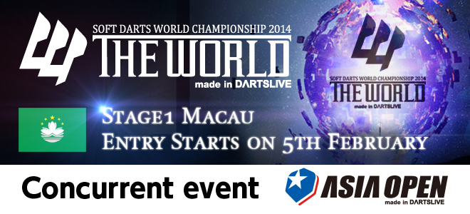 THE WORLD STAGE 2 Hong Kong 26th MAY 2013 14:00 GAME ON! Live on DARTSLIVE.TV *Time is set to Hong Kong Standard Time